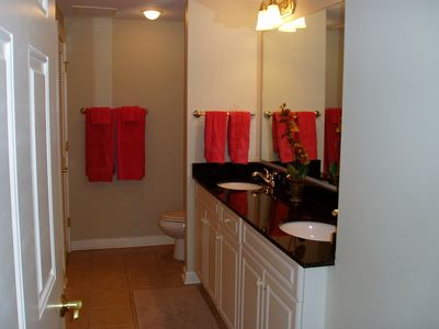 Kingston Plantation condo rental - Master Bathroom with double sink vanity.