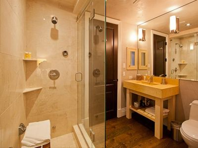 Middle bath with steam shower.
