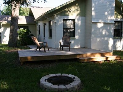 Back Yard with wood deck and fire pit (fenced)