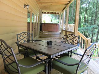 Ellijay cabin photo - A Great Place for your Morning Coffee on the Terrace Level Deck