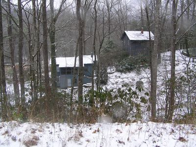 Trout Stream House on left, Bunk House on right