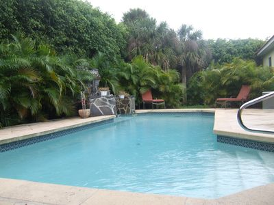 Heated Pool With Total Privacy. Natural Limestone Pool Deck.