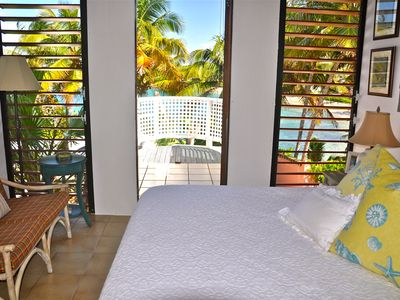 2nd floor bedroom/King bed/AC/ Bathroom/Private balcony with views of the bay
