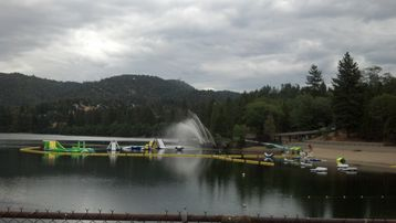 Crestline cabin rental - Lake Gregory's climbing water toys are challenging and fun for most ages!