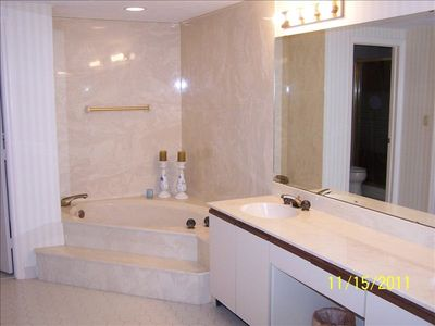 Master bathroom with Roman tub, separate stall shower, and dual sinks