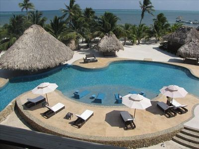 View of the ocean, reef, beach, and new pool from