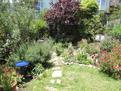 The lovely garden to enjoy. Many bird species sited here: hummingbirds to hawks!
