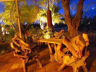 Desert Hot Springs house photo - Teak Burl Chairs and Table front patio night view