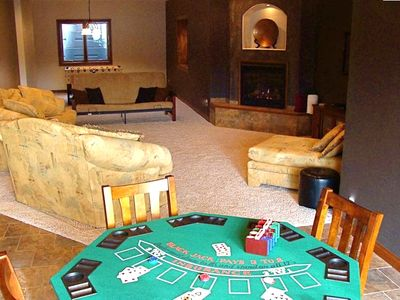 Media/Game Room with Poker, Foosball, Plasma TV, Fireplace and Wet Bar