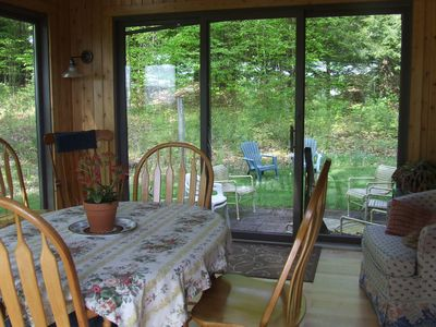 St Johnsbury house rental - Glassed Porch View to Woods Perfect Place for Morning Coffee!