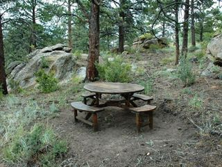 Estes Park cabin photo - Picnic Area behind cabin with Views of Longs Peak.