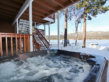 Eagle Point cabin rental - Outdoor Hot Tub with Lake Views