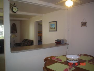 Breakfast bar and kitchen..