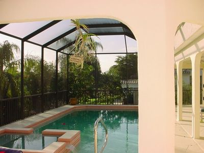 Eastern side lanai/pool view looking south - Bonita Springs Rental Home
