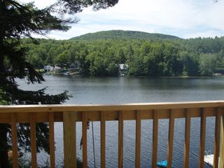 Crescent Lake cottage photo - Balcony view Great for morning coffee or reading!
