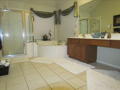 Master Suite Spa Bath. Yes, that is a jetted garden tub! Candles included.. :-)