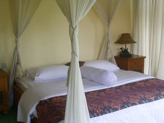Sanur house photo - Upstairs bedroom. King-sized bed in teak frame with full mosquito net.