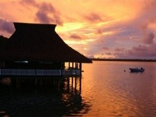 Bora Bora house photo - And the sun sets right in front of the bungalow.