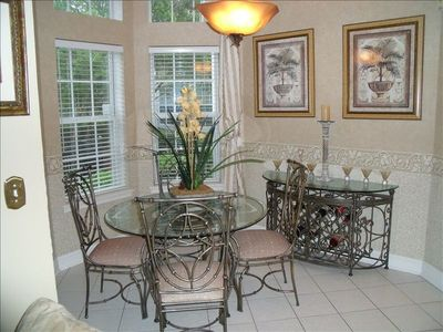 The Breakfast Room is great for casual dining. Handle martini glasses with care!