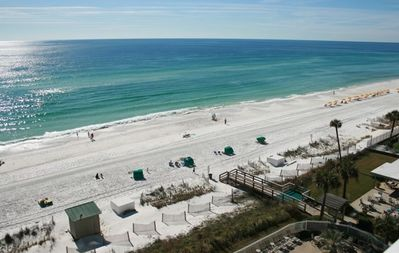 Gorgeous white sand beach viewed from your unit