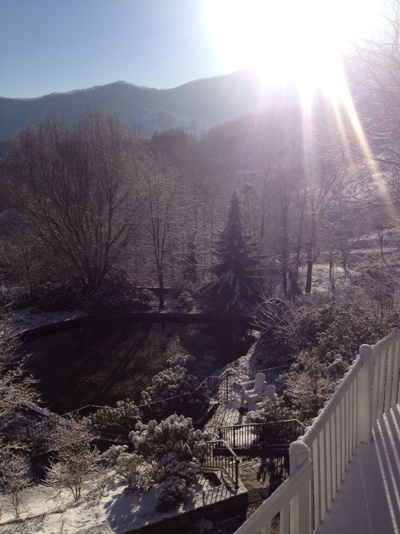 Sun rising over Cold Mountain with snow in January 2013