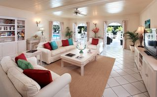 Sandy Lane villa photo - Comfortable living room at Vistamar villa has a large screen TV with cable