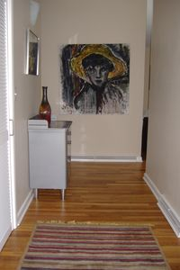 Foyer with original art & 50's metal chest