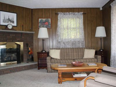 Living Room with Fireplace, TV, Radio & DVD Player