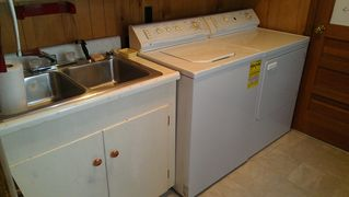 Lake Placid house photo - Laundry room: washer, dryer & utility sink off kitchen.