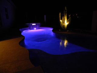 Marana house photo - Night time view of the pool and rare cactus