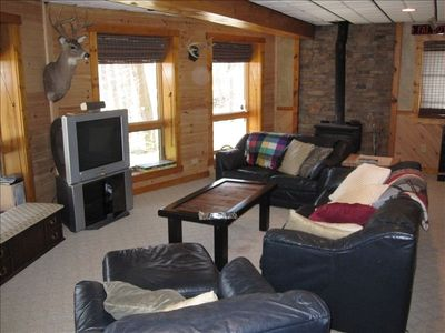 Seven Springs cabin rental - Lower Family Room w/ pool table and kitchen