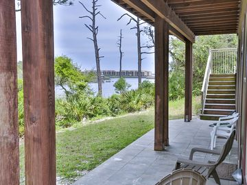 ground level back deck overlooking lake front