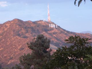 Hollywood house photo - Hollywood sign as seen from our terrace