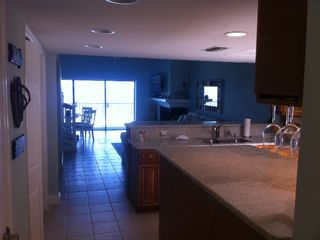View from front entry - kitchen has large island for entertaining - Indian Shores condo vacation rental photo