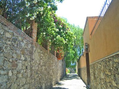 Casita La Mariposita: the walk downtown begins on cobblestones with flowers