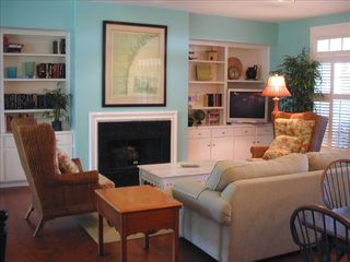 Daufuskie Island cottage photo - Living Room with gas fireplace and oceanview