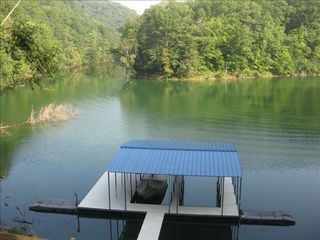 La Follette cabin photo - Walk out to personal 2-boat covered slip w/ swim platform and 2 jetski docks