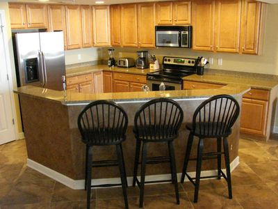 Oceans Mist Ocean City condo rental - Kitchen Bar with Stainless Appliances, Granite Counters, Full Cookware, Cutlery
