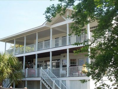 Beach side of the house with 10' deep, wraparound porches!