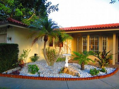 You are greeted right at the front door by  one of the charming tropical gardens