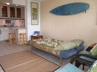 Makaha condo photo - sofa bed folds out into a full size bed to accommodate families(crib also avail)
