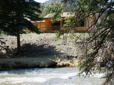 Cabin on the Wind River among towering pines