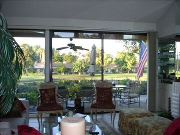 Looking through living room to outside view