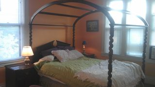 Minneapolis condo photo - Queen Size Sleep Number Canopy Bed now has lace topper...