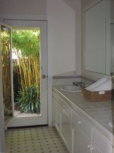 "2nd Bathroom with additional ""Beach"" shower outside in garden"