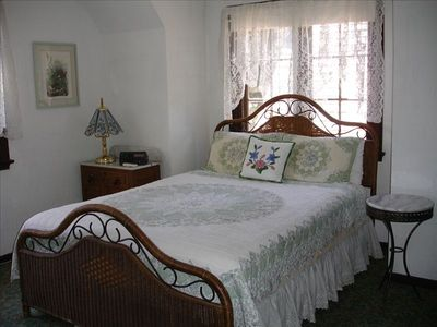 Queen bedroom on 4th floor has full private bath and lake and village views.