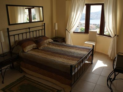 Kalkan villa rental - Main bedroom with sea view and en-suite bathroom