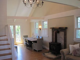 Surfside Nantucket property rental photo - Working wood stove to keep you warm on cool nights.
