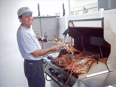Cooking Lobster on the Gas Grill, Fresh catch served downstairs with butter yum!