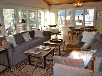 Teton Village house rental - Living Room with game table (lots of games!)